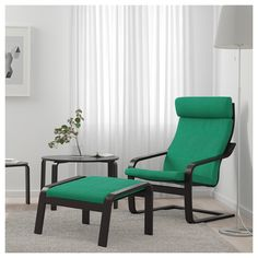 IKEA - POÄNG, Footstool, black-brown, Lysed bright green, A variety of seat cushion designs makes it easy to change the look of your POÄNG chair and your living room. The frame is made of layer-glued bent beech which is a very strong and durable material. Fabric Armchairs, Fabric Ottoman, Green Armchair, Ikea Armchair, Wood Veneer, Living Room Chairs, Chair Cushions, Home Furnishings, Outdoor Chairs
