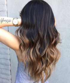 Love the ombré this hair color from dark to light brown #haircolor #brunette #hairstyles #darkbrownhair #balayage
