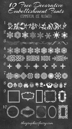 10 Best Decorative Embellishment Fonts (commercial use dingbats) by Emily. For The Graphics Fairy.