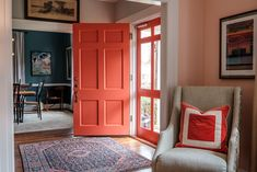 Colored Front Door Entry Way - Catherine French Design - Chapel Hill