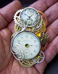 Steampunk Pin (A81) - Brooch - Clockworks Design - Brass Gears and Clockface - Swarovski Crystals