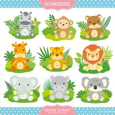 Baby Jungle Animals Clipart by soarsense on Etsy, $5.00