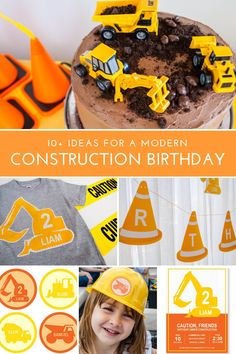 Construction birthday party ideas for a modern construction theme party! Printable construction party decorations, construction supplies, favors and cake! Construction Party Supplies, Construction Party Decorations, Construction Birthday Invitations, Construction For Kids, Construction Birthday Parties, Birthday Party Decorations, Cake Decorations, Birthday Ideas, Birthday Banners