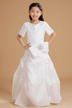 Classic White Taffeta Flower Girl Dress - Order Link: http://www.theweddingdresses.com/classic-white-taffeta-flower-girl-dress-twdn1138.html - Embellishments: Applique , Bowknot , Crystal , Sequin; Length: Floor Length; Fabric: Taffeta; Waist: Natural - Price: 68.51USD