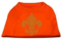 Mirage cat Products Gold Fleur De Lis Rhinestone cat Shirt, Large, Orange ** For more information, visit now : Cat Apparel