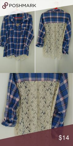 Plus size plaid with lace back Rue+ (rue 21) size 3xl blue and pink plaid with lace back. Ordered a size up because I thought it would run small, but it didn't. Washed and dried, hoping it would shrink, but it didn't. True to size. No rips or tears. Very cute. Rue 21 Tops Button Down Shirts