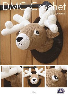 This crochet pattern from DMC usesPetra Size 3 Yarnto make astags head plaque. Requirements: One 100 g ball of each colour: 54460 cream, 5938 dark brown and 53045 light brown. Crochet hook size 2.5 mm. Please check out my other knitting / crochet patterns @ https://www.etsy.com/uk/shop/DebsKnittingMadness?ref=hdr_shop_menu§ion_id=19215882 Knitting pattern - https://www.etsy.com/uk/shop/DebsKnittingMadness?ref=hdr_sho...