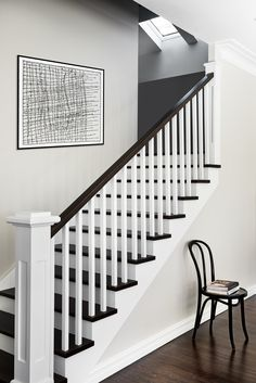 Pin By Judy Osborne On House White Staircase Black Stairs – Decorating Foyer Black Painted Stairs, Black Stair Railing, Black And White Stairs, Black Staircase, Staircase Railings, Banisters, Staircase Design, Stairways, White Walls