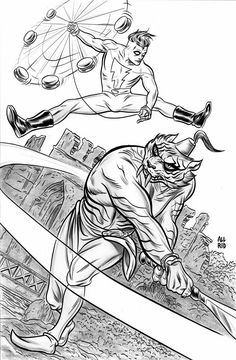 Madman vs Sabretooth Swordsman by Mike Allred