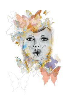 Papillon Girl - A3 LIMITED EDITION PRINT. $45.00, via Etsy.
