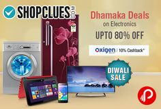 Shopclues #DiwaliSale brings #ItneKumMein #Dhamaka #Deals on #Electronic Products offer Upto 80% off and Extra 10% Cashback from Oxigen Wallet. TV & Audio, Mobiles & Tablets, Unboxed & Refurbished Gadgets, Computers & Printers, Home & Grooming Appliances, Kitchen Appliances, Mobile & Laptop Accessories, Large Appliances, Cameras & Smart Gadgets.   http://www.paisebachaoindia.com/electronic-upto-80-off-on-shopclues-dhamaka-deals-shopclues/