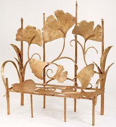 Art Nouveau Contemporain - Collection Ginkgo - Banquette 'Les Grandes Berces' - Bronze Doré -  Claude Lalanne - 2001