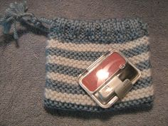 Knitted Mini Wristlet for Make Up or Cell Phone by craftheart, $2.75