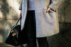 Classic Grey Coat and Striped Shirt - Alexa Dagmar : Alexa Dagmar