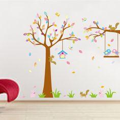 rivestimento murale multicolore cartoon scoiattolo adesivi murali coniglio multicolore albero muro stickers adesivi murali jm7226 bambino reale