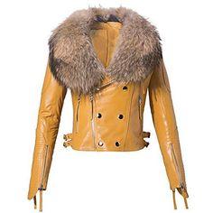 Leather Jacket W/Big Raccoon Fur Collar Leather Jacket Dress, Leather Dresses, Chic Dress, Fur Collars, Fur Coat, Big, Cotton, Jackets, Fashion