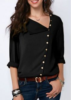 Stylish Tops For Girls, Trendy Tops, Trendy Fashion Tops, Trendy Tops For Women Stylish Tops For Girls, Trendy Tops For Women, Blouses For Women, Black Shirt Outfits, Casual Skirt Outfits, Bluse Outfit, Moda Casual, How To Roll Sleeves, Dusty Blue