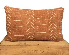 Rust Mudcloth Pillow Cover Authentic Mud Cloth Pillow