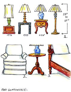 The Right height of a Table Lamp for your End Table. When paring an end table, with a table lamp, the combined height of the two should also be 58 to 64 inches high. (The same height of the floor lamp). Interior Decorating Tips, Interior Design Tips, Decorating Hacks, Interior Ideas, End Tables, A Table, Buffet Table Lamps, Side Table Lamps, Night Table