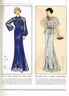 Butterick 6232 and 6248 in Butterick Fashion Magazine, Summer 1935