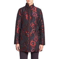 Etro Floral Puffer Jacket ($655) ❤ liked on Polyvore featuring outerwear, jackets, apparel & accessories, black multi, etro, puffy jacket, fleece-lined jackets, long sleeve jacket and stand collar jacket