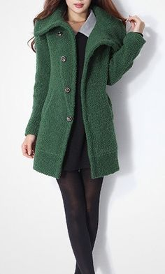 Green wool women coat by happyfamilyjudy