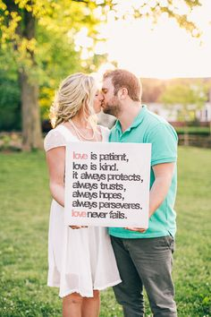 Love is Patient - Love is Kind... Love Never Fails. Engagement Session -- See more here: http://www.StyleMePretty.com/2014/05/19/picnic-engagement-session/ #SMP - Photography: BHullPhotography.com