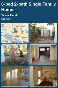 3-bed 2-bath Single Family Home in Tampa, Florida ►$94,500 #PropertyForSale #RealEstate #Florida