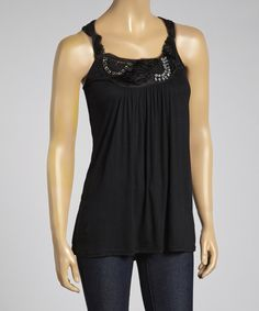 Another great find on #zulily! Black Embellished Sleeveless Tunic by Simply Irresistible #zulilyfinds