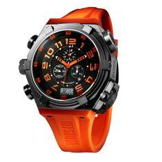 Black and orange luxurious chronograph watch.
