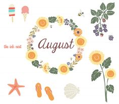 CLIP ART - August - for commercial and personal use