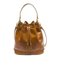 Brown leather bucket with leather lace