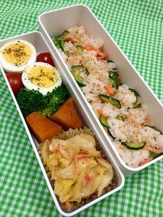 Twitter from @kuku222 本日のお弁当。きゅうりと鮭の混ぜごはん(酢飯で) #お弁当 #obento #obentoart