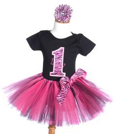 Fancy Pink Zebra First Birthday Outfit & Up  ( Size 1-6 ). $54.99, via Etsy.