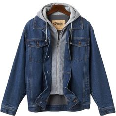Big & Tall Domini Denim Hooded Jacket (620 ZAR) ❤ liked on Polyvore featuring men's fashion, men's clothing, men's outerwear, men's jackets, jackets, men, outerwear, tops, blue and mens sherpa lined jacket