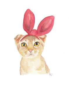 Cat Watercolor - Nursery Art, Original Painting, Cat Illustration, Bunny Ears. $40.00, via Etsy.