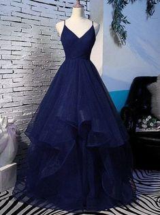 Navy Blue Formal Dress, Stunning Prom Dresses, Navy Blue Prom Dresses, Straps Prom Dresses, Pretty Prom Dresses, Blue Evening Dresses, Navy Blue Gown, Homecoming Dresses Long, Prom Dresses Long Sleeve