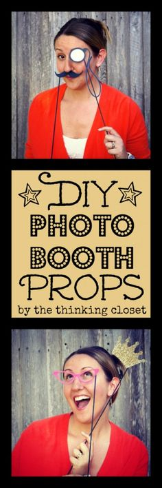 DIY Photo Booth Props - - instant entertainment!  Tutorial and free cut file via thinkingcloset.com