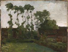   Gemeentemuseum. Boerderij met bomen, 1906. Piet Mondriaan. Dutch Artists, Great Artists, Piet Mondrian Artwork, Landscape Art, Landscape Paintings, Dutch Painters, Contemporary Abstract Art, Paintings I Love, Plein Air