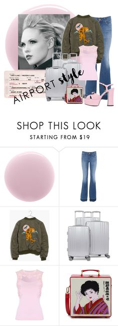 """""""Pink Plans"""" by lavalu-1 ❤ liked on Polyvore featuring RGB, J Brand, Madewell, CalPak, Jane Norman, Olympia Le-Tan, Yves Saint Laurent and airportstyle"""