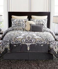Gray & Yellow Istanbul Five-Piece Comforter Set #zulily #zulilyfinds