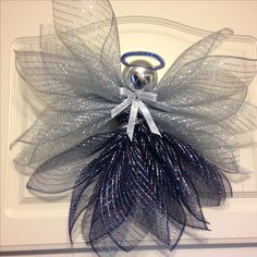 Navy and Silver Deco Mesh Angel