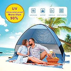 Buy Gupamiga Beach Tent,Tents for Camping, Pop Up Tent Sun Shade Instant Tent Sun Shelter Pop Up with Tent Stakes Waterproof Portable UPF UV Protection Tent for Outdoor Family Camping Hiking Fishing Pop Up Beach Tent, Beach Cabana, Pop Up Tent, Camping Life, Family Camping, Tent Camping, Beach Shade, Sun Shade, Sun Tent