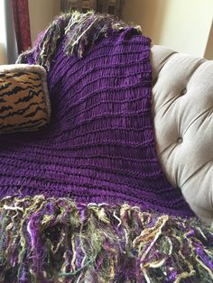 Purple Green Blanket Decor Throw Decoration Afghan by CricketsHome