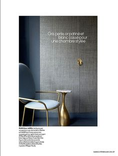 """In article, """"Couture Spirit,"""" interior designer Anne Sophie Pailleret featured Max's Metallic Raffia 3541 Natural Silver in the bedroom of a client's Paris apartment."""