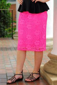 Lace Pencil Skirt - Pink - $25 at DCM Apparel