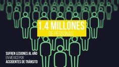 Número de personas lesionadas al año en accidentes viales en México.