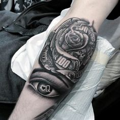 Black And White Ink Shaded Money Rose Guys Forearm Tattoos