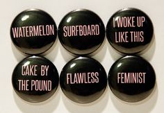 Set of 6 Beyonce Inspired 1 Pinback Buttons by 8bitbuttons on Etsy