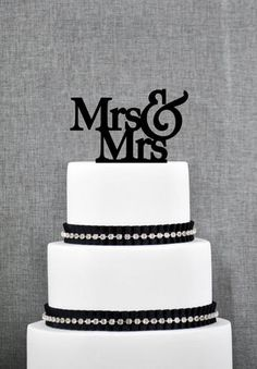 Mrs. & Mrs. Cake Topper (Text) from ThatGaySite.com! Lesbian wedding cake topper, gay wedding, two brides